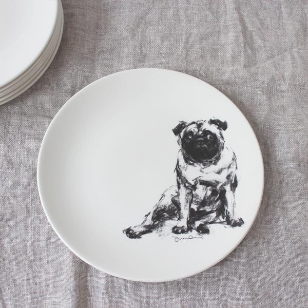 Side Plates Charcoal Dog Sketches