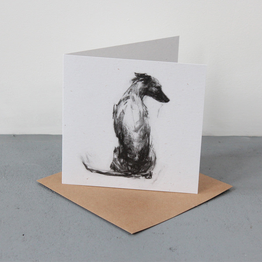 """Whippet Sitting"" Fine art card"