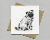 Sitting Pug Fine art card