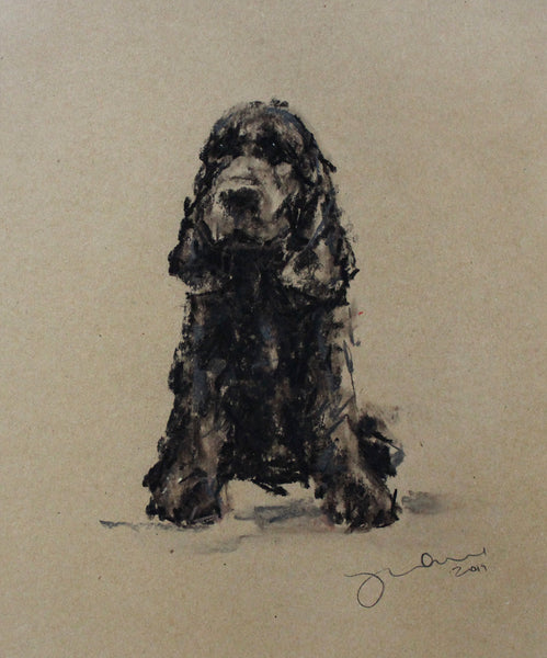 SOLD Cocker Spaniel Pastel on Paper - Original Drawing