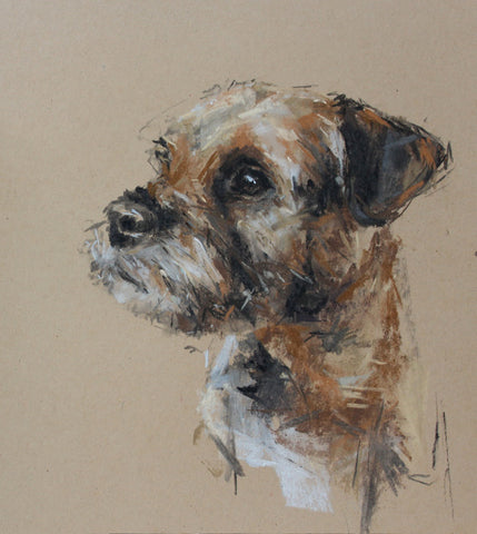 SOLD Border Terrier portrait pastel sketch ORIGINAL
