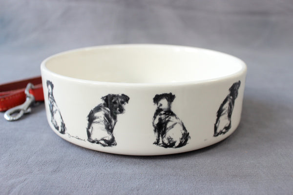Terrier Pair Dog Feeding Bowl - Large