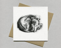 "Whippet ""Tucked In"" Fine art card"
