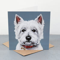 Westie Red Collar Fine art card