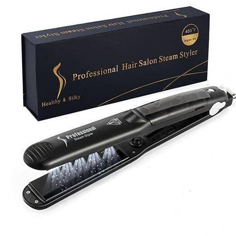 2 in 1 Steam Hair Straightener and Curler Flat Iron With Vapor Ceramic Tourmaline - Happy Trends Outlet