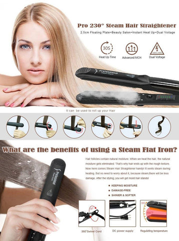 Image of 2 in 1 Steam Hair Straightener and Curler Flat Iron With Vapor Ceramic Tourmaline - Happy Trends Outlet