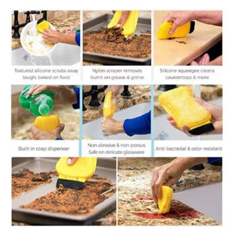 Image of 3 In 1 Silicone Dish Washing Sponge - Happy Trends Outlet