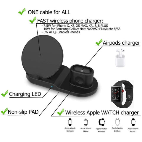 3 in 1 Wireless Charging Dock Stand - Happy Trends Outlet