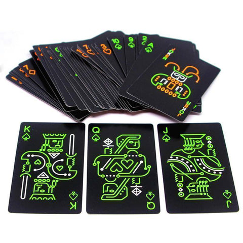 Image of Black Luminous Fluorescent Glow in the Dark Playing Cards - Happy Trends Outlet