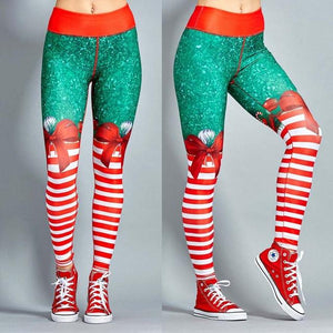 Christmas Theme Print Leggings - Happy Trends Outlet