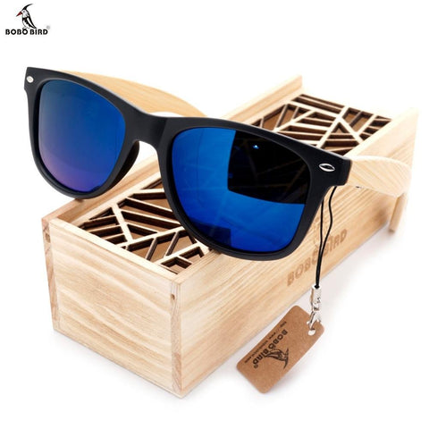 Image of Polarized Vintage Sunglasses with Bamboo Legs - Happy Trends Outlet