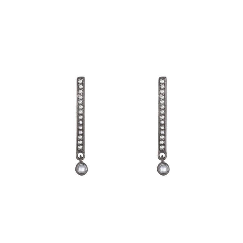 Brooklyn Diamond Bars with Moonstone Dangle Earrings
