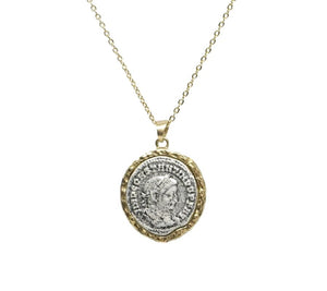 Vintage Gold Maximianus Coin Necklace