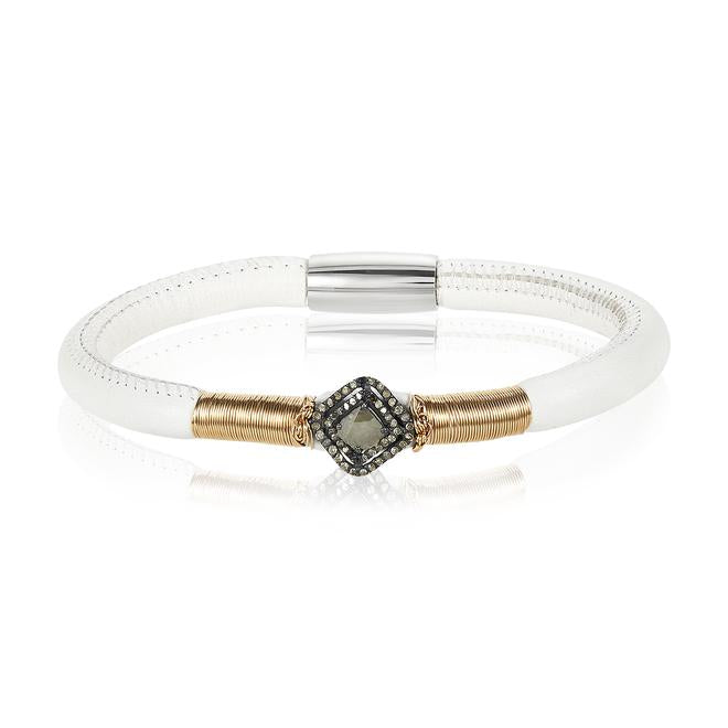 Trio Diamond Single Leather Bracelet