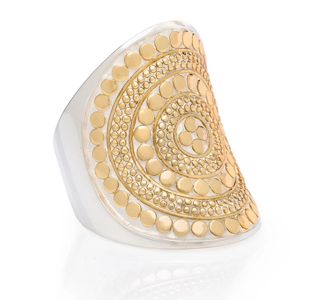 Beaded Saddle Ring - Gold