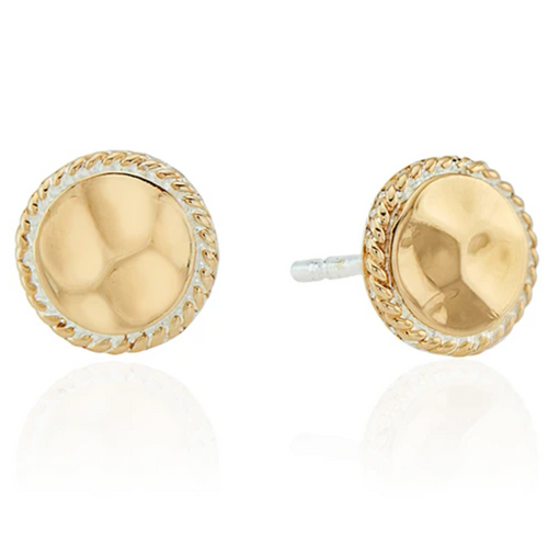 Hammered Stud Earrings - Gold
