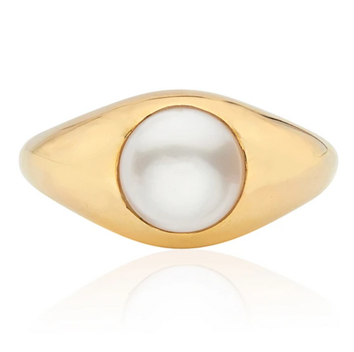 Pearl Smooth Signet Ring