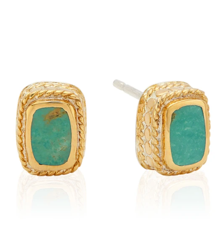 Turquoise Cushion Stud Earrings