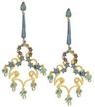 Load image into Gallery viewer, Celestial Turquoise Chandelier Earrings