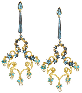 Celestial Turquoise Chandelier Earrings