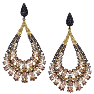 Champagne Teardrop Chandelier Earrings