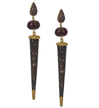 Load image into Gallery viewer, Florentine Dagger Earrings in Coffee