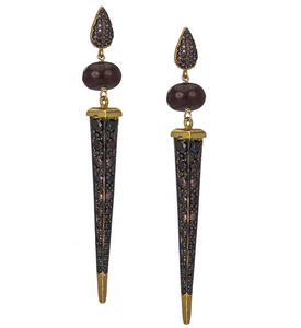 Florentine Dagger Earrings in Coffee