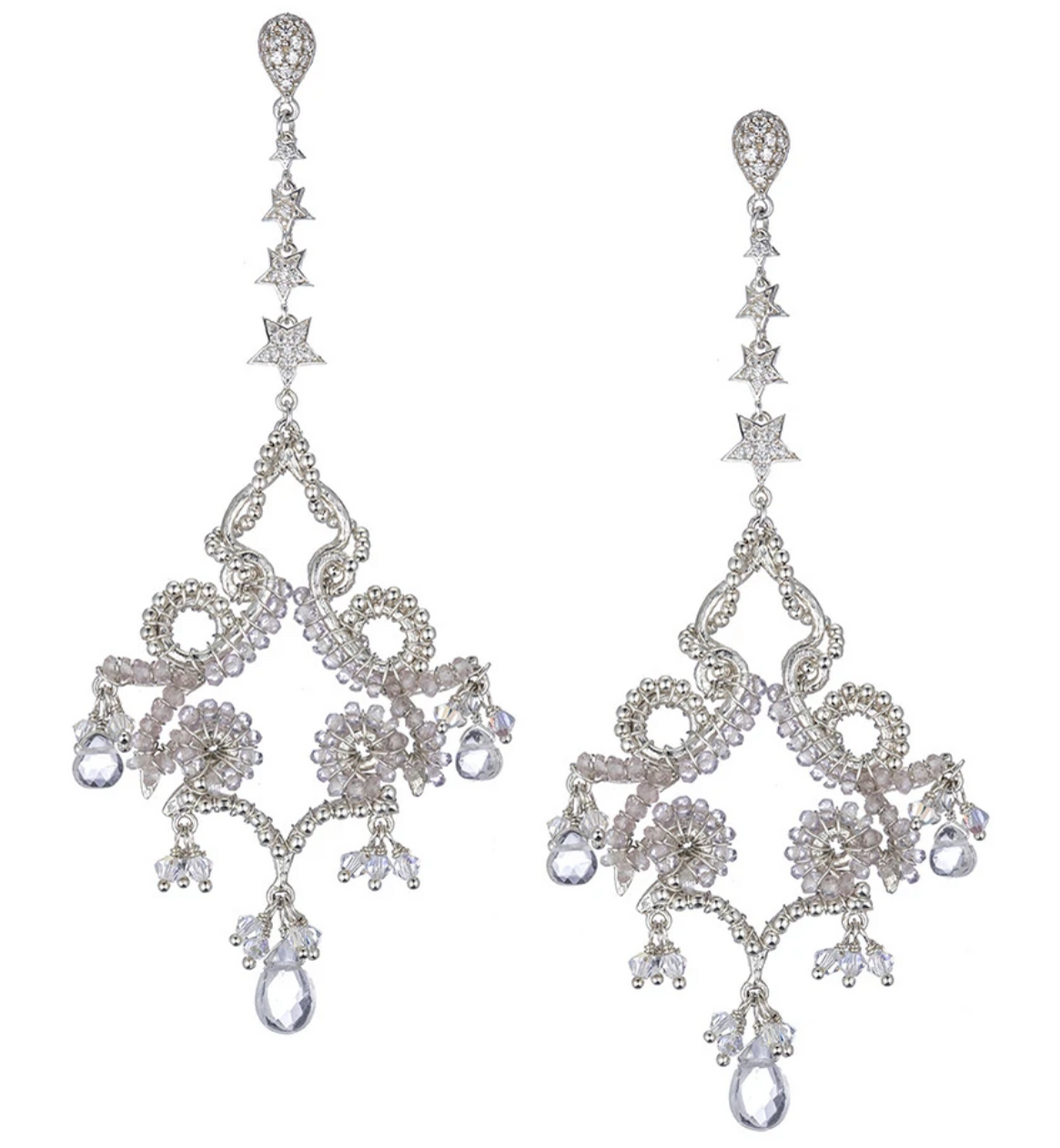 Florentine Moonstone and White Topaz Chandelier Earrings