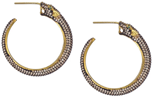 Champagne Panther Hoop Earrings