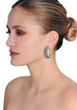 Load image into Gallery viewer, Turquoise Panther Hoop Earrings