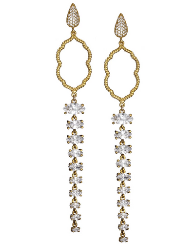 Regal Clover Long Drop Earrings