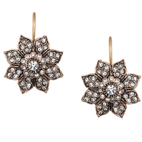 Vintage Starburst Floral Drop Earrings