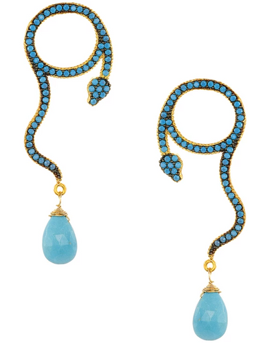 Turquoise Snake Drop Earrings