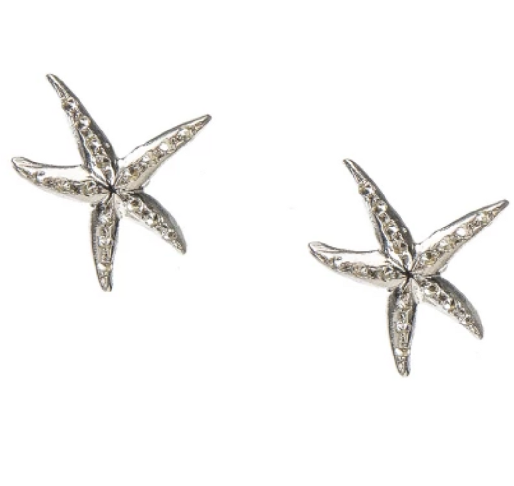 Under the Sea Silver Starfish Studs