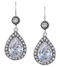 Load image into Gallery viewer, Vintage Silver Plate Teardrop Earrings