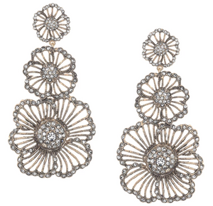 Vintage Triple Flower Earrings