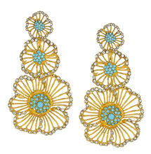 Load image into Gallery viewer, Vintage Turquoise Triple Flower Earrings
