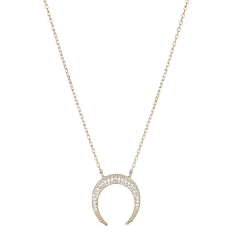 Melrose CZ Upside Down Crescent Moon Necklace
