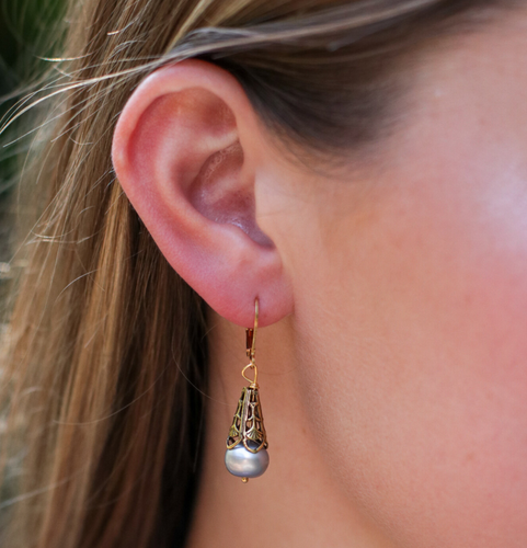 Golden Pearl Drop Earrings in Grey