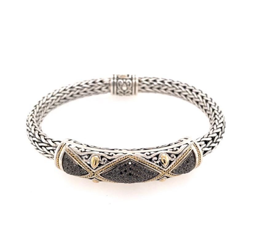 Silver & Yellow Gold Bracelet with Black Pave Diamonds