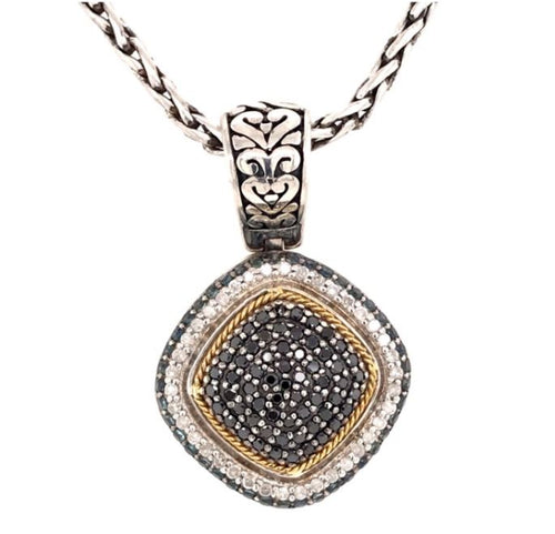 Silver & Gold Pendant Necklace with Sapphires & Diamonds