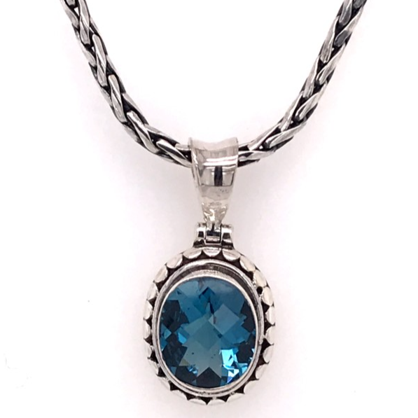 Silver Pendant Necklace with Oval Cut London Blue Topaz
