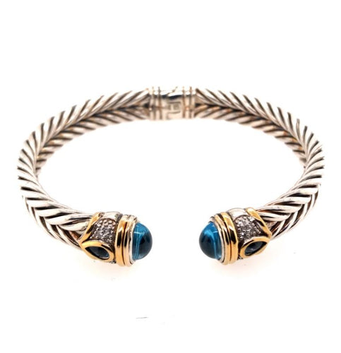 Sterling Silver & Yellow Gold Bracelet with Diamonds & London Blue Topaz