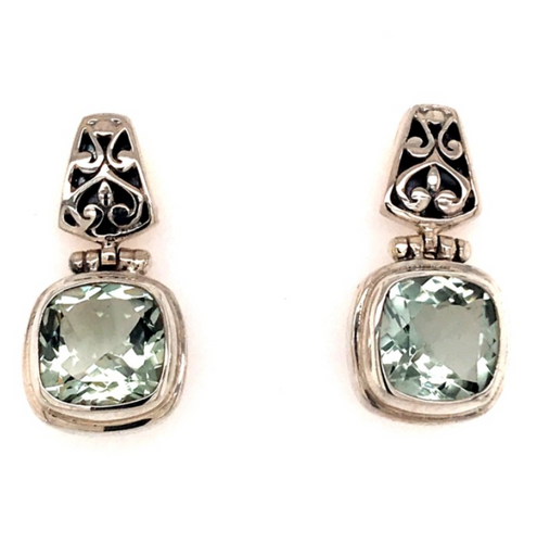 Sterling Silver Earrings with Cushion Cut Green Amethysts