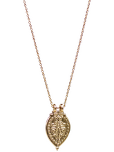 "Load image into Gallery viewer, Prayer Necklace - Yellow Bronze ""Invoke Peace Within"""