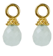 Load image into Gallery viewer, Lincoln Drops on Cosmo Hoops - Aqua Chalcedony
