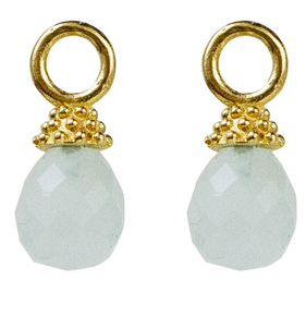Lincoln Drops on Cosmo Hoops - Aqua Chalcedony