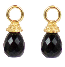 Load image into Gallery viewer, Lincoln Drops on Cosmo Hoops - Black Spinel