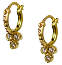 Load image into Gallery viewer, Trifecta Hoops - White Topaz