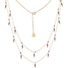 Load image into Gallery viewer, Dangling Double Strand Necklace - Garnet